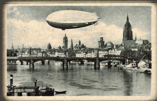 Airship over a bridge.